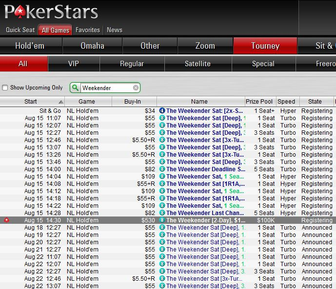 Weekender - new two-day event from PokerStars