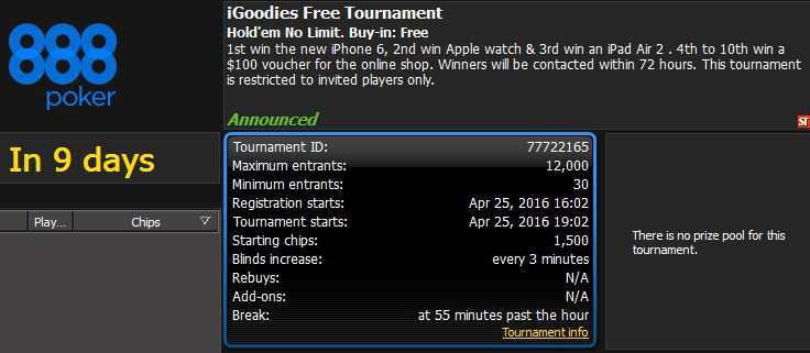 iGoodies free tournament prize pool in the lobby