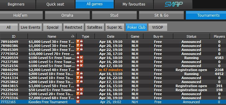 How to find 888 poker iGoodies free tournament