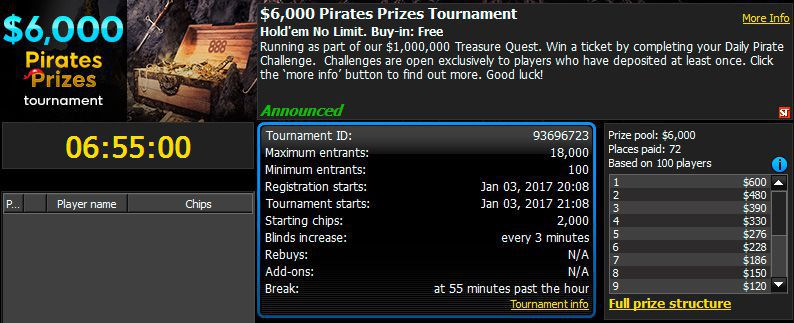 $6,000 Pirate's Prize Tournament