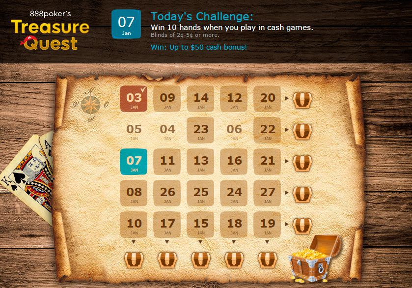 888 Poker Treasure Quest daily challenges