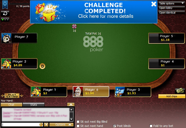 888poker - challenge completed