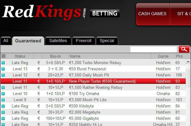 RedKings Poker €500 New Player Turbo Tournament