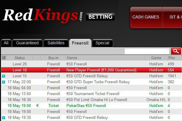 RedKings Poker €1000 New Player Freeroll