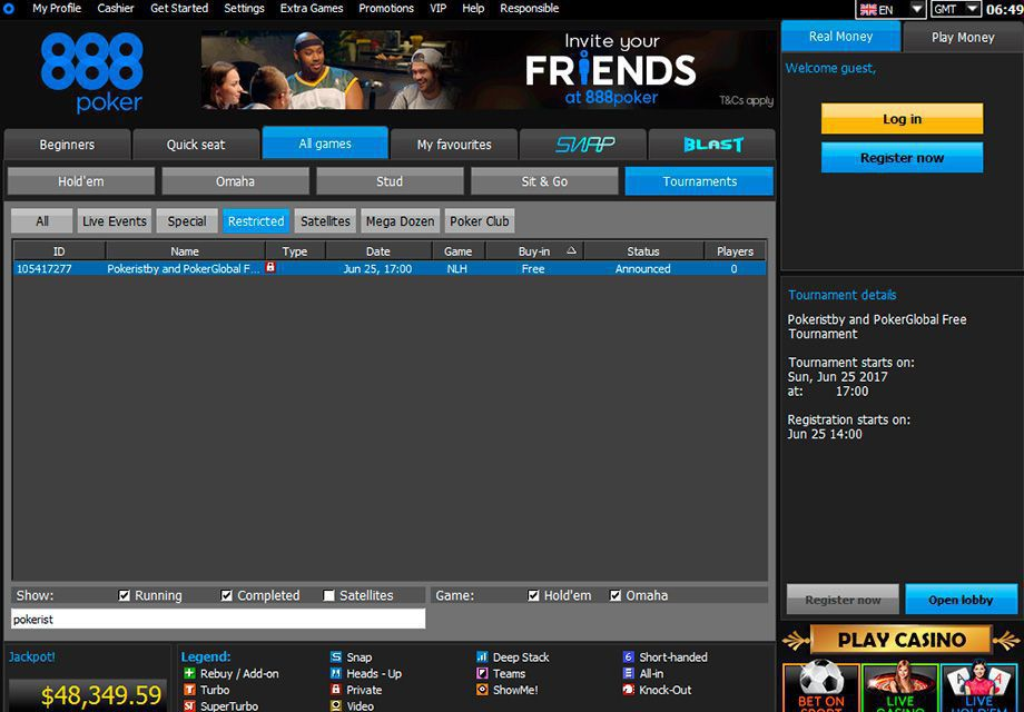 Pokeristby and PokerGlobal Free Tournaments at 888poker lobby