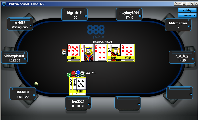 A typical online poker room with interactive players