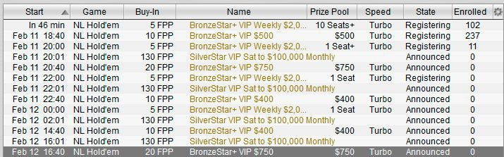 poker freerolls schedule