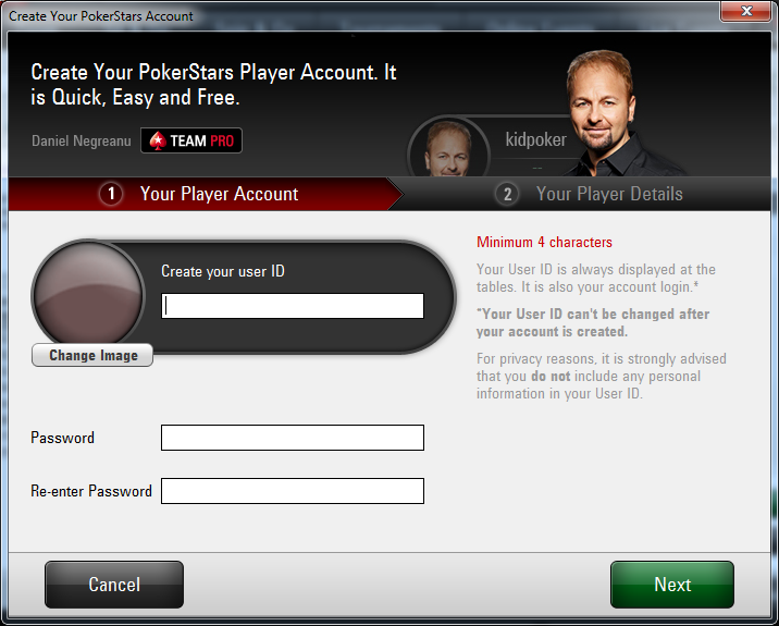 create pokerstars account
